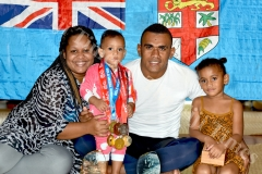 Wife Luisa (left), 1 year old Grace with dad Fiji Airways 7's sledge hammer Eroni Sau and 4 year old Esther at their home yesterday prior to leaving for HSBC World 7's at San Fransisco,USA today. Picture: RAMA