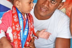 Fiji Airways 7's sledge hammer Eroni Sau with his 1 year old baby Grace at his home yesterday prior to leaving for HSBC World 7's at San Fransisco,USA today. Picture: RAMA