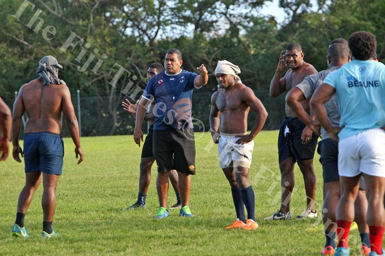 Naitasiri rugby team head coach Koli Sewabu speaks to his players during their team training session at Bidesi Grounds in Laucala Bay, Suva on Tuesday, July 03, 2018. Picture: JONACANI LALAKOBAU