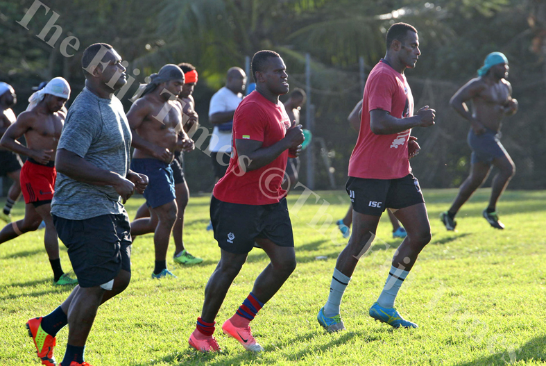 Sakeo Railoa, third from right, and members of the Naitasiri rugby team during their training session at Bidesi Grounds in Laucala Bay, Suva on Tuesday, July 03, 2018. Picture: JONACANI LALAKOBAU