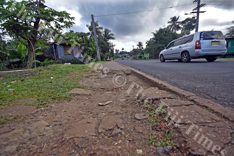 This portion of footpath at Gaji road needs a patch up. Picture: RAMA