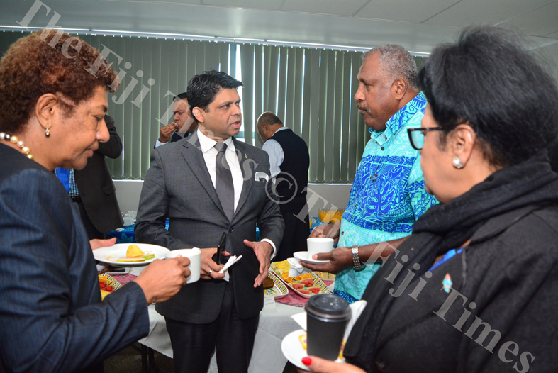 Attorney-General and Minister for Economy, Public Enterprises, Civil Service & Communications Aiyaz Sayed Khaiyum in discussions with opposition MP Jiosefo Dulakiverata, Assistant Minister for Women, Children & Poverty Alleviation Veena Bhatnagar and Oppostition leader Ro Teimumu Kepa during a break in the 2018/2019 national budget briefing yesterday. Picture: JOVESA NAISUA