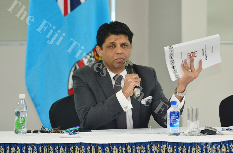 Attorney-General and Minister for Economy, Public Enterprises, Civil Service & Communications Aiyaz Sayed Khaiyum adresses the government and opposition MP's during a briefing on the 2018/2019 national budget yesterday. Picture: JOVESA NAISUA