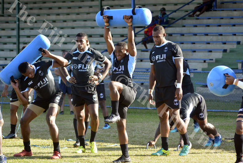 Fiji Airways 7s player Waisea Nacuqu tests his strength during training at Prince Charles Park in Nadi. Picture: REINAL CHAND