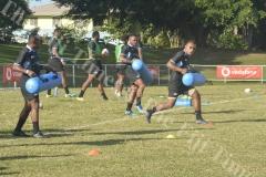 Fiji Airways 7s players Eroni Sau (right) Amenoni Nasilasila and Waisea Nacuqu trains at Prince Charles Park in Nadi. Picture: REINAL CHAND