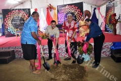 Tui Macuata Ratu Wiliame Katonivere (left), Damodar Group CEO Div Damodar,PM Voreqe Bainimarama and Dayanand Damodar during the ground breaking ceremony at Labasa yesterday. Picture: LUKE RAWALAI