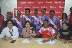 Nadi Bula Festival Committee President  Ravin Nadan (sitting 2nd from right) with trustee Sushila Ramesh (right) and Titilia Vuataki (far left) seals the sponsorship deal with Digicel's Regional Manager West Florence Eyre as the contestants look on. Picture: REINAL CHAND