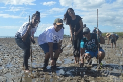 Leilani Kedrayate (left) with Loata Ravu, Shamillah Ali and Kesa Togoloa join the ATS Pacific – Allied Tour Services colleagues plant mangroves at Saweni Beach in Lautoka. Picture: REINAL CHAND