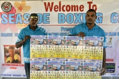 Seaside Boxing Promoter Mukesh Freddy Chand (right) with Arunesh Kumar launch the boxing poster for his upcoming Promotions in Nadi. Picture: REINAL CHAND