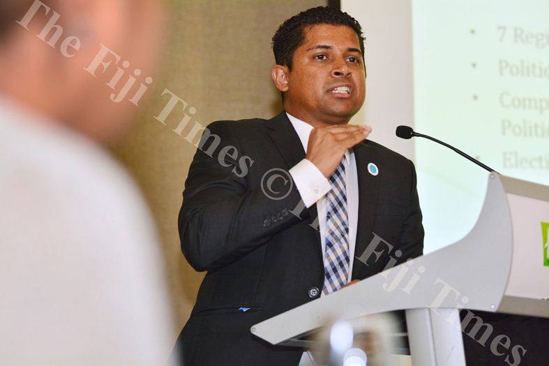 Supervisor of Elections Mohammed Saneem speaks to participants during the joint International IDEA, FEO and HRADC forum on electoral processes in Suva yesterday. Picture: JOVESA NAISUA