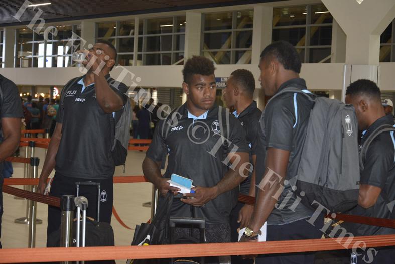Josua Tuisova with the Fiji Airways Mens 7s team at Nadi International Airport. Picture: REINAL CHAND