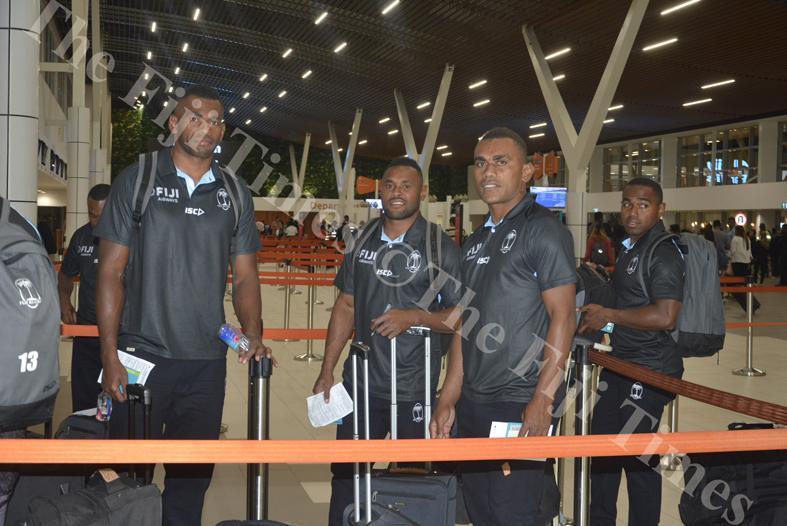 Fiji Airways 7s players Sevuloni Mocenacagi (left), Amenoni Nasilasila, Eroni Sau and Waisea Nacuqu at the Nadi International Airport. Picture: REINAL CHAND