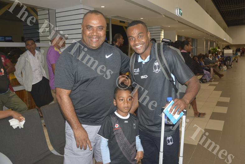 Fiji Airways 7s player Alasio Naduva with uncle Sekaia Ragata and nephew Emosi Ragata at the Nadi International Airport. Picture: REINAL CHAND