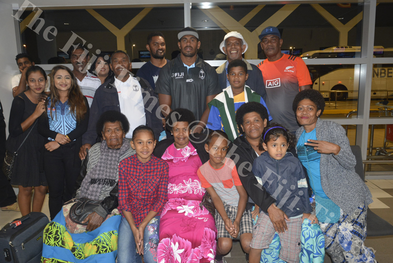 Fiji Airways 7s player Kalione Nasoko with family and friends at Nadi International Airport. Picture: REINAL CHAND