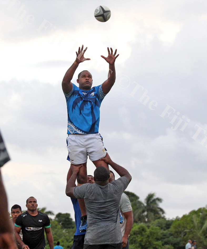 Peni Naulago practice a lineout move with his teammates during the Suva Rugby training session at Buckhurst Grounds in Laucal Bay, Suva on Wednesday, July 04, 2018. Picture: JONACANI LALAKOBAU