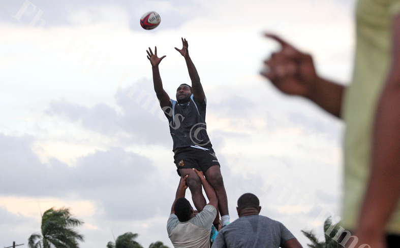 Alipate Mataivilia practice a lineout move with his teammates during the Suva Rugby training session at Buckhurst Grounds in Laucal Bay, Suva on Wednesday, July 04, 2018. Picture: JONACANI LALAKOBAU