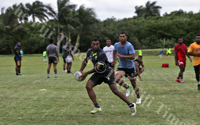 Sili Are sets up a backline move during the Suva Rugby training session at Buckhurst Grounds in Laucal Bay, Suva on Wednesday, July 04, 2018. Picture: JONACANI LALAKOBAU