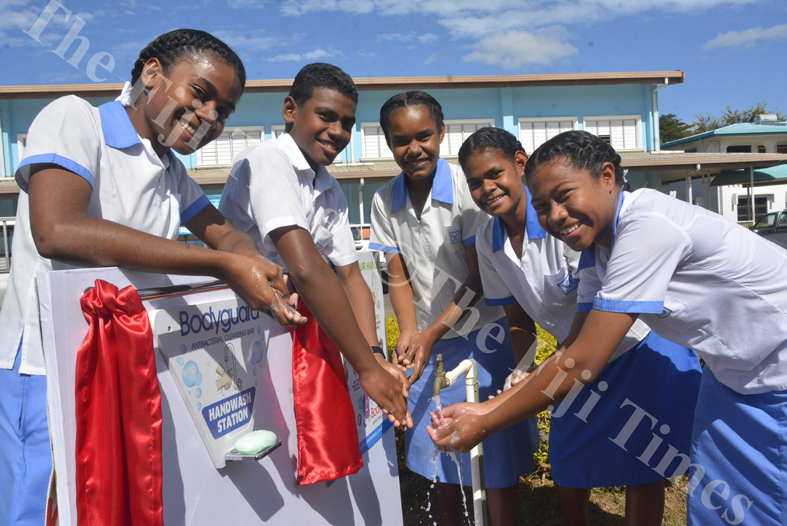 Xavier College year 10 students Siteri Naba (left), Harry William, Sunena Ram, Asinate Makilla and Sofia Tamanikoula utilises the new hand wash station at their school in Ba. Picture: REINAL CHAND