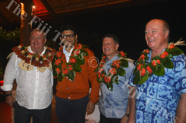 Outrigger Fiji Beach Resort General Manager Peter Hopgood (left) with Attorney General Aiyaz Sayed Khaiyum, Outrigger Enterprises Group President and CEO Jeff Wagoner and Tourism Industry Pioneer Geoffrey Shaw during his farewell ceremony on Friday Night. Picture: SHAYAL DEVI