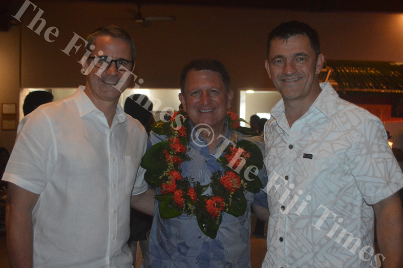 Westpac Fiji general manager Brett Hooker, left, with Outrigger Enterprises Group president and CEO Jeff Wagoner and Westpac Fiji Head of Global Transaction Solution- Sales Michael Mjaskalo. Picture: SHAYAL DEVI