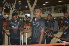 Eroni Sau with the Fiji Airways Mens 7s team at Nadi International Airport. Picture: REINAL CHAND