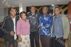 Fiji Airways 7s player Paula Dranisinikula with his family brothers Filimoni Dranisinikula (left), Viliame Tarovia (far right), mother Milika Dranisinikula and dad Paula Dranisinikula Senior at the Nadi International Airport. Picture: REINAL CHAND