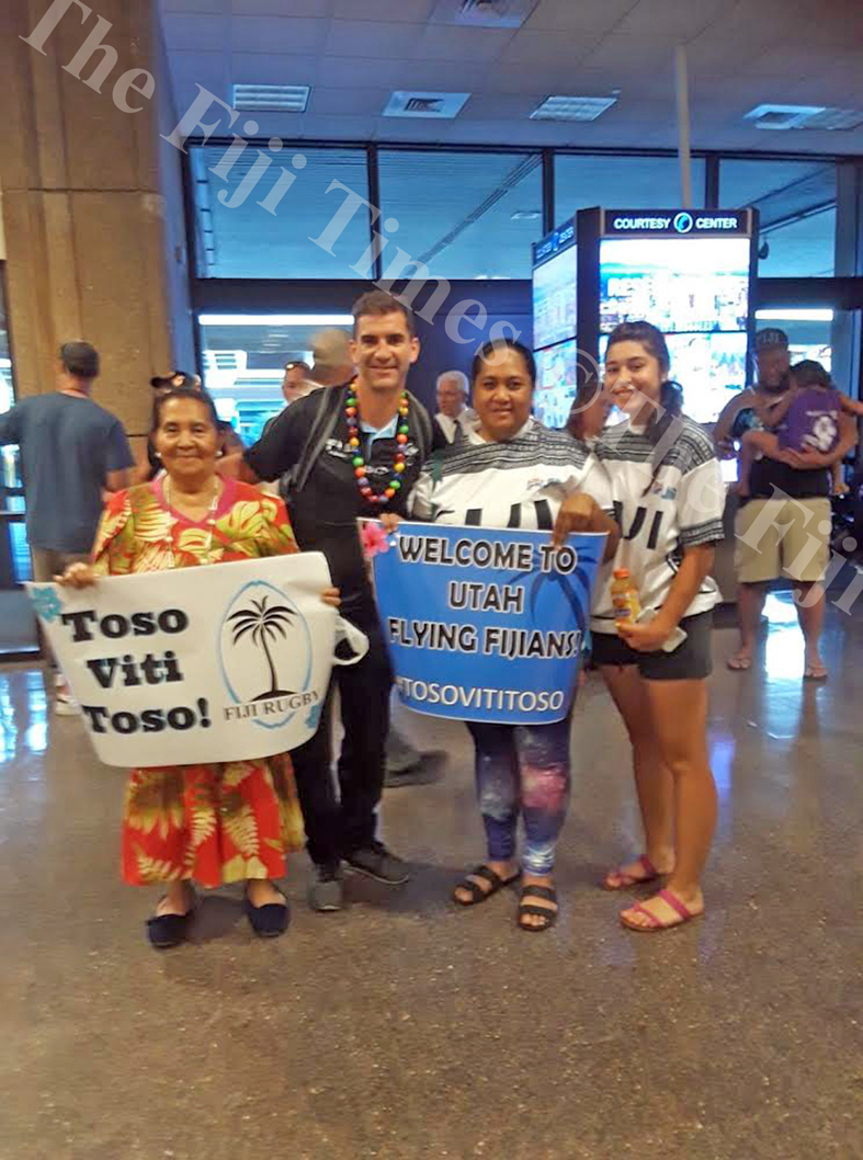 Fiji Airways Fiji 7s coach, Gareth Baber with fans while arriving in Utah. Picture: SUPPLIED