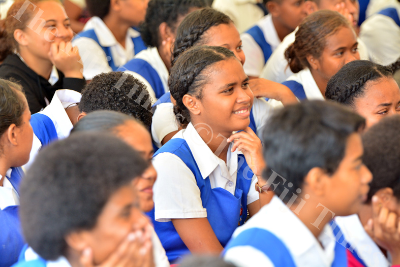 Students of Lelean Memorial School listen in during a session with a motivational speaker at the school during their 75th anniversary celebrations in Nausori yesterday. Picture: JOVESA NAISUA