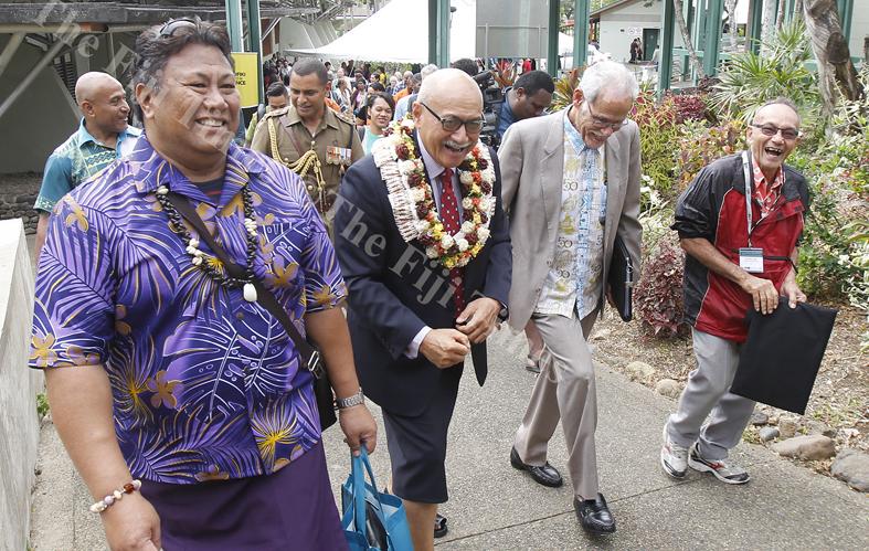A delegate with President Jioji  Konrote, USP Vice-Chancellor,  Winston Thompson and Hendry Elder at the Vaka Pasifiki Education Conference 2018 at USP. Picture ATU RASEA