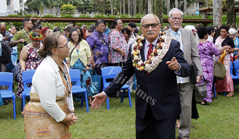 A delegate with President Jioji  Konrote, USP Vice-Chancellor and Winston Thompson after the opening of the Vaka Pasifiki Education Conference 2018 at USP yesterday.Picture ATU RASEA