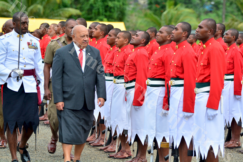 Minister for Defence Inoke Kubuabola inpects the new RFMF recruits during their pass out parade at the Forces Training Group grounds in Nasinu (Suva) yesterday. Picture: JOVESA NAISUA