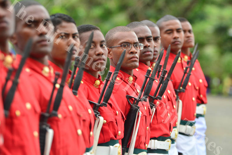 New RFMF recruits slow march during their pass out parade at the Forces Training Group in Nasinu yesterday. Picture: JOVESA NAISUA