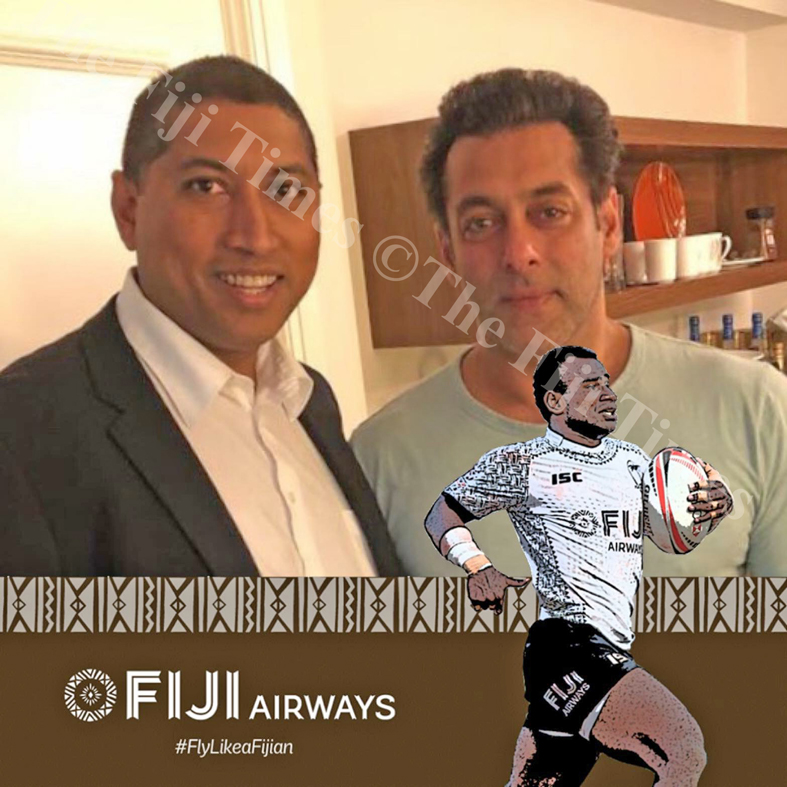 Metropolitan Security GEO Abhinash Bachchan & Bollywood Star Salman Khan,  giving best wishes to fiji rugby team for World Cup & Metropolitan Secutity for opening the branch in the Fiji Islands. Picture: SUPPLIED