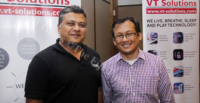 Shailesh Sharma, VT Solution managing director and Chito Bautista, Honeywell general manager during the launching at the Holiday Inn last night.Picture : ATU RASEA