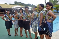 Coral Coast Carnival Queen Contestants Miss Vinod Goundar Construction Miriama Lalabalavu (right), Miss TISI Sangam Nadroga Branch Mary Stella Kuricivi, Miss Rio Car Wash Florence Kata, Miss Coastline Transport Vaulina Rabo, Miss Market Vendors Association Mary Ballantine Veitamana, Miss Sigatoka Town Council Vilisi Torosi and Miss Jubaniwai Sudesh Transport Cema Bolawaqatabu pose for a photo at the Fiji Hideaway Resort in Sigatoka. Picture: REINAL CHAND