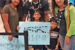 Fiji Airways Fiji 7s reps, Apenisa Cakaubalavu and Eroni Sau with fans while arriving in Utah. Picture: SUPPLIED