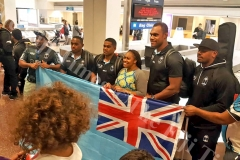 Fiji Airways Fiji 7s reps, Waisea Nacuqu, Vatemo Ravouvou, Leone Nakarawa and Kalione Nasoko with fans in Utah. Picture: SUPPLIED
