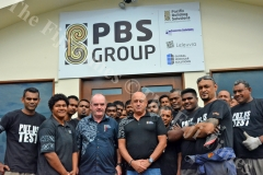 Simon Ahearn, PBS Group General Manager standing front left with Michael Fairfax, Managing Director PBS Group with Workshop staff at their Headquarters in Lami, Suva. Picture: SUPPLIED