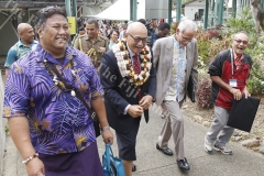 A delegate with President Jioji  Konrote, USP Vice-Chancellor,  Winston Thompson and Hendry Elder at the Vaka Pasifiki Education Conference 2018 at USP. Picture ATU RASEA