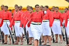 Awardee for the best light machine gun shot Adi Salote Caginidaveta on her way to receive her award during the RFMF pass out parade at FTG, Nasinu yesterday. Picture: JOVESA NAISUA
