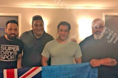 Bollywood actor Salman Khan pictured with fans and a Fiji flag in support for the Fiji Airways Fiji 7s team to the Rugby World Cup. Picture: SUPPLIED