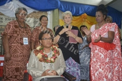 Apostle Rowree Jensen (standing 2nd from right) with other participants pray on Minister for Women, Children and Poverty Alleviation Mereseini Vuniwaqa during the Transformation International Fiji's 3rd Conference for Women on the Frontline in Lautoka. Picture: REINAL CHAND