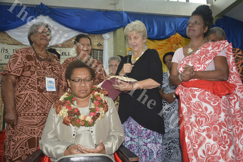 Apostle Rowree Jensen (standing 2nd from right) with other participants pray on Minister for Women, Children and Poverty Alleviation Mereseini Vuniwaqa during Transformation International Fiji's 3rd Conference for Women on the Frontline in Lautoka. Picture: REINAL CHAND
