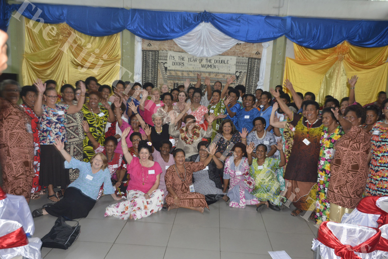 Minister for Women, Children and Poverty Alleviation Mereseini Vuniwaqa (sitting centre) with the participants during the Transformation International Fiji's 3rd Conference for Women on the Frontline in Lautoka. Picture: REINAL CHAND