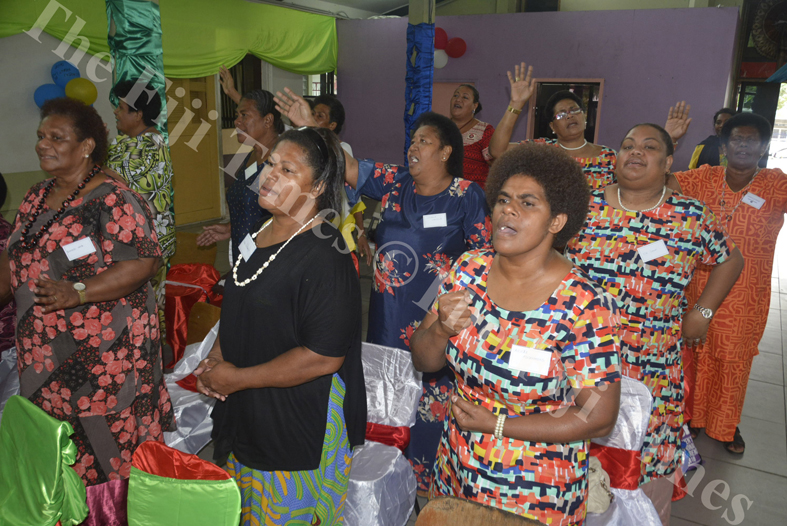 Arieta Adi Samanunu (closest to camera) attend the Transformation International Fiji's 3rd Conference for Women on the Frontline in Lautoka. Picture: REINAL CHAND