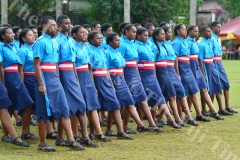 Cadets of Saint Luke house slow march during the Gospel High School passing out parade yesterday. Picture: JOVESA NAISUA