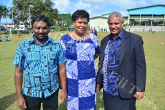Teachers of Gospel High School (L-R) Shaneel Ram, Bale Naivanawalu and Semi Underwood after the pass out. Picture: JOVESA NAISUA
