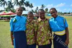 Cadets of Gospel High School (L-R) Josevata Banuve, Bill Koroi, Jacoro Cabelewa and Isimeli Vaganalau after their schools passing out parade yesterday. Picture: JOVESA NAISUA