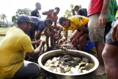Ratu Kadavulevu school students and teachers harvest Tilapia fish at their fish pond yesterday.Picture ATU RASEA