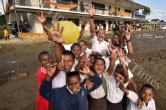 Nausori Primary School students show the joy after the Prime Minister Voreqe Bainimarama opened the extension of the new blocks to the school yesterday. Picture: RAMA
